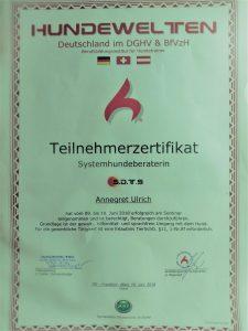 Hundewelten Teilnehmerzertifikat Annegret Ulrich